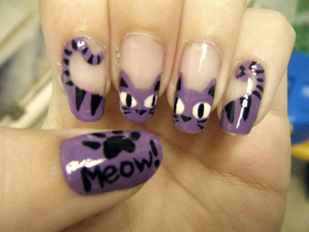 French nail art cat